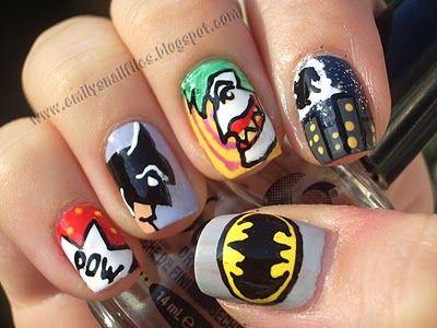 Cool: Nerd Nails, Superhero Nails, Batman Nails, Wedding Nails, Batman Comic, Gotham Cities, Comic Books, Nails Art Design, Marvel Heroes
