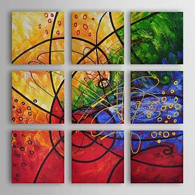 peinture à l'huile abstraite moderne ensemble de vitraux de 9 main toile avec cadre étiré peint – USD $ 179.99