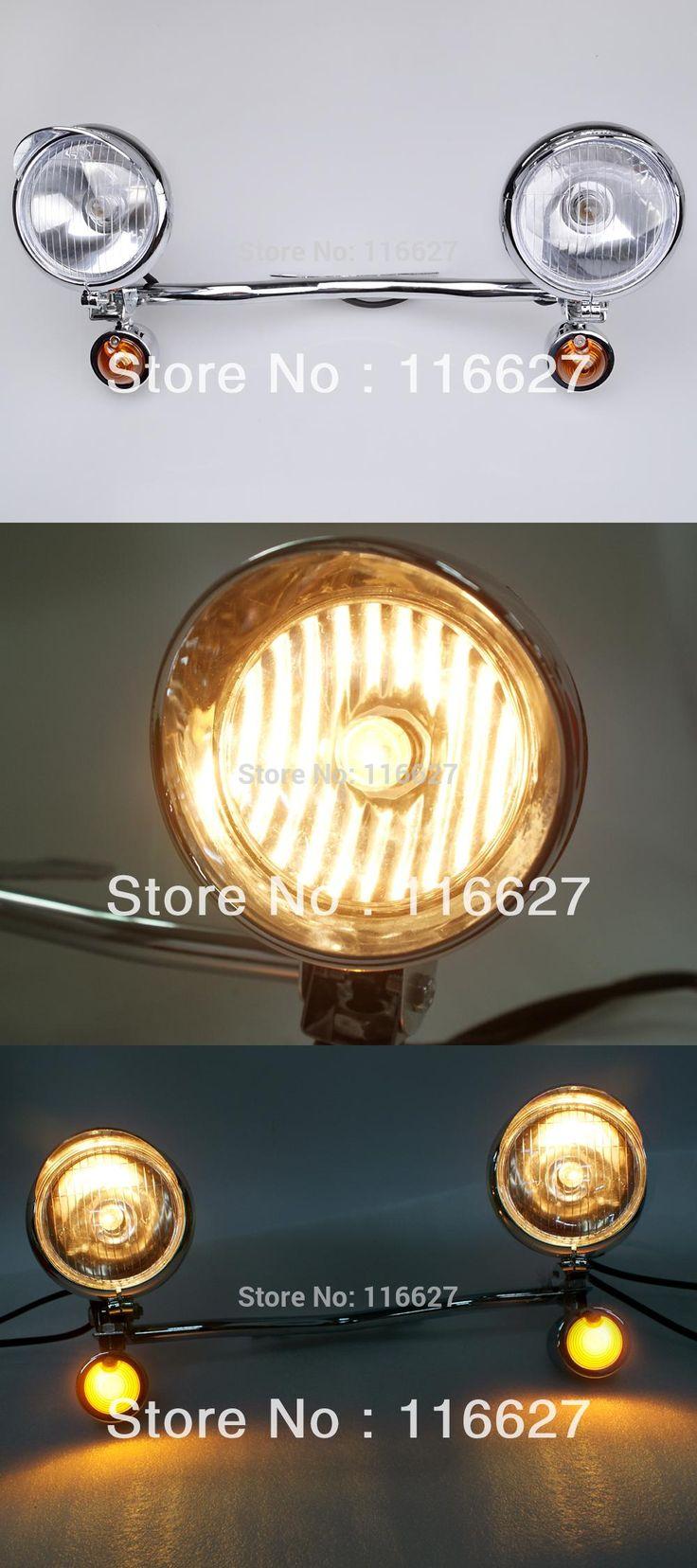 [Visit to Buy] Driving Passing Amber Turn Signal Spot Light Bar for Kawasaki VN Vulcan Classic  Honda Rebel Shadow VTX GL #Advertisement
