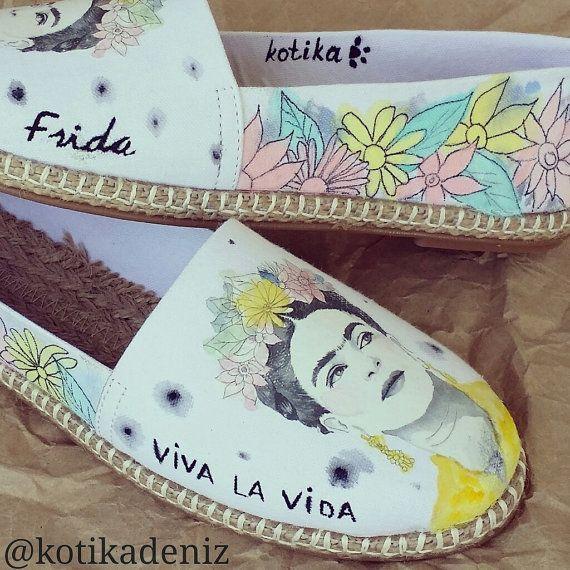Handpainted Frida Kahlo Espadrille by KotikaDesign on Etsy