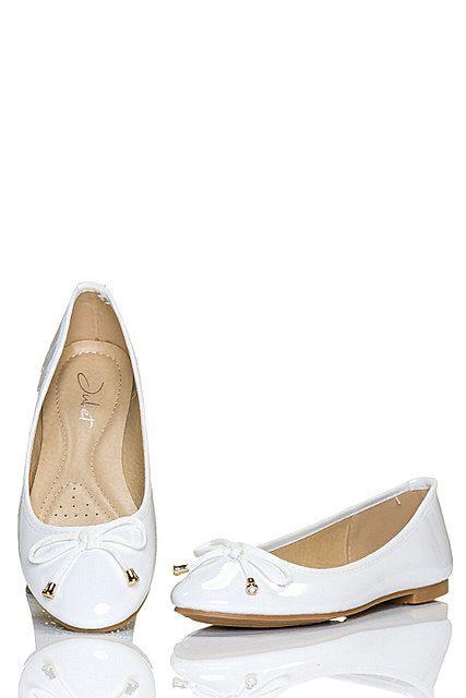 Bailarinas zapatos mujer bajos charol lazo en la punta redonda, Blanco Seda|Dorado