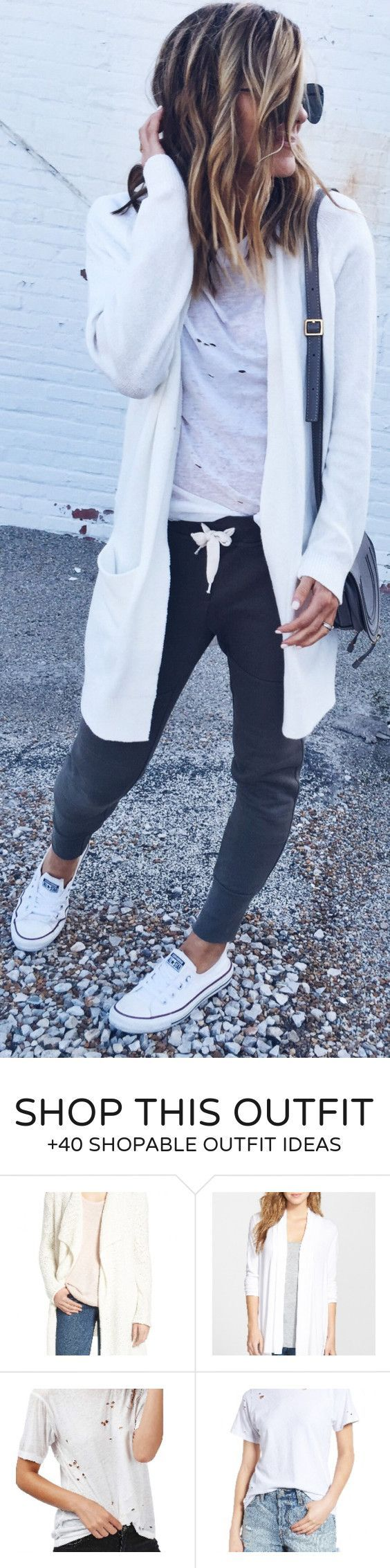 #winter #fashion / White Cardigan / White Ripped Top / Dark Pants / White Sneakers