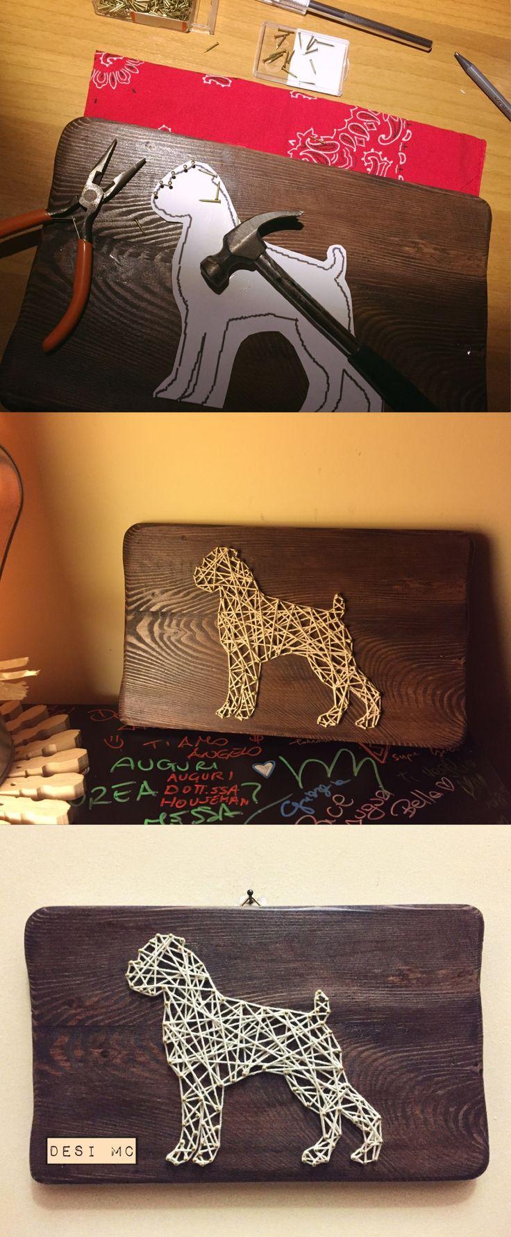 String Art Mode #stringart #dog #boxer #art #wood #present #creativity #pet #idea