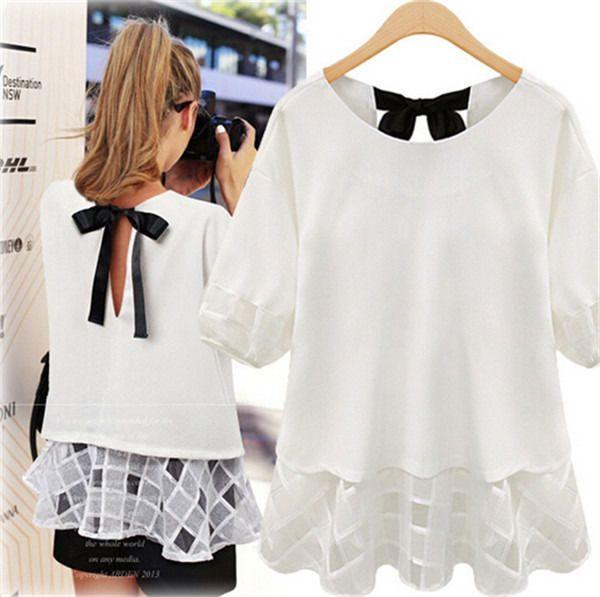 Fashion Women Casual Sheer Short Sleeve Tops Blouse Lace Chiffon Shirt Plus Size #Graceangie #Blouse #Casual