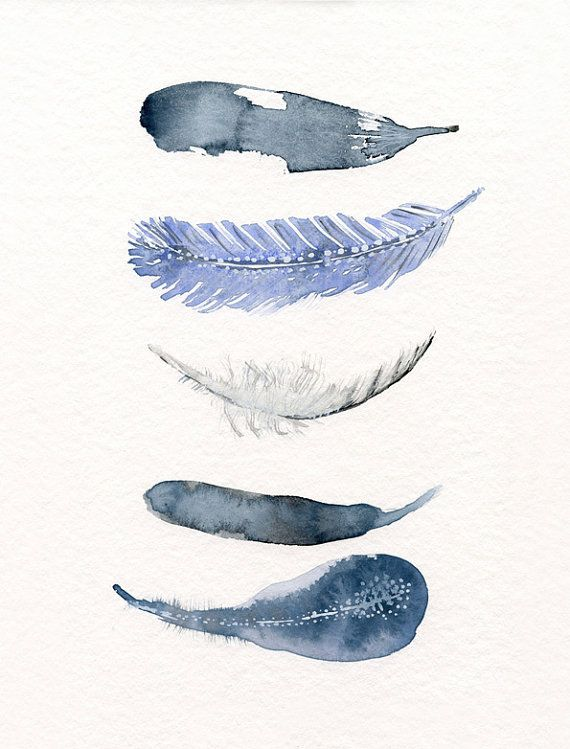 Upstairs hallway art - Water color art print   feather art print from by TheClayPlay, $22.00