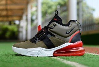 f46510b26 Nike Air Force 270 Medium Olive Challenge Red Sail Black AH6772 200 Mens  Sneakers Safari