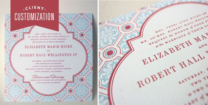 Client Customization: Camille Invitation with Letterpress Art Deco Pattern #robinsegg #blue #begonia #decorative #frame #pattern #square #customized  Custom Letterpress Invitations and Stationery | Dauphine Press