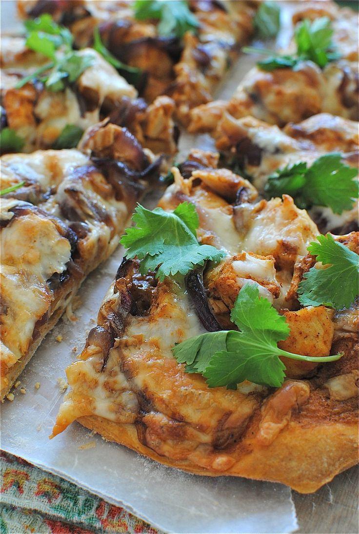 Creamy BBQ Chicken Pizza / Bev Cooks