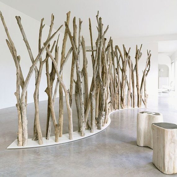 A natural wood space divider from Bleu Nature