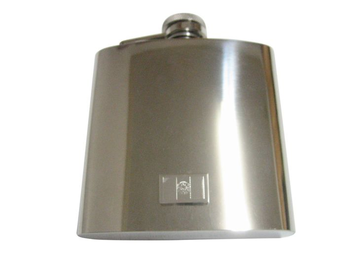 Silver Toned Etched Afghanistan Flag Pendant 6 Oz. Stainless Steel Flask