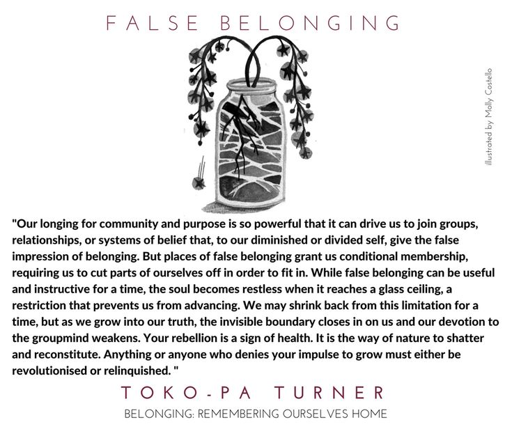 A new excerpt from #belongingbook from the chapter on False Belonging. #falsebelonging #belonging  belongingbook.com