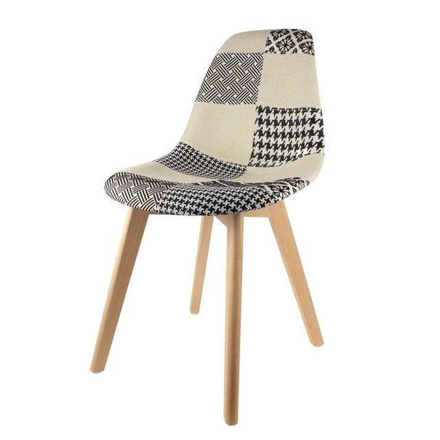 et Chaise patchwork noir blancchaiseChaise scandinave m08Nwn