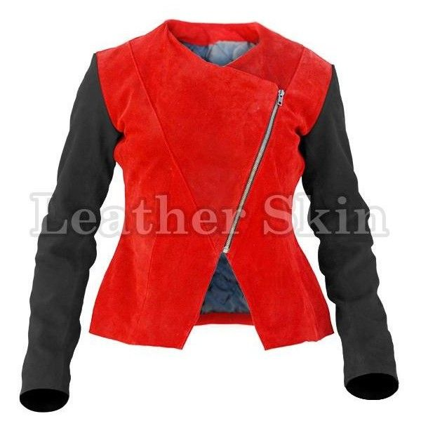 Leather Skin Women Red Suede Leather Jacket with Black Sleeves ❤ liked on Polyvore featuring outerwear, jackets, leather-sleeve jacket, red leather jacket, sleeve jacket, leather jackets and 100 leather jacket