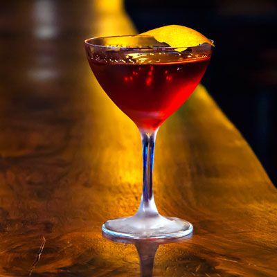 Old Pal 1 ounce Bulleit rye whiskey 1 ounce Dubonnet Rouge ¾ ounce Lillet Blanc ¾ ounce Campari Orange peel