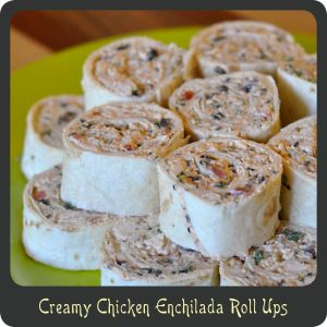 Creamy Chicken Enchilada Rollups—Great party appetizer! I would mix all the spread ingredients up serve as a baked hot dip. Sounds perfect. 2-8 ox packages cream cheese, softened 1 1/2 c shredded Mexican cheese blend 1 tsp garlic, minced 2 tbsp taco seasoning 10 oz can Rotel tomatoes and chilies, drained rotisserie chicken, skinned and chopped 1/2 c cilantro, chopped 4 green onions, chopped 4.25 oz chopped black olives 1 package burrito sized tortillas
