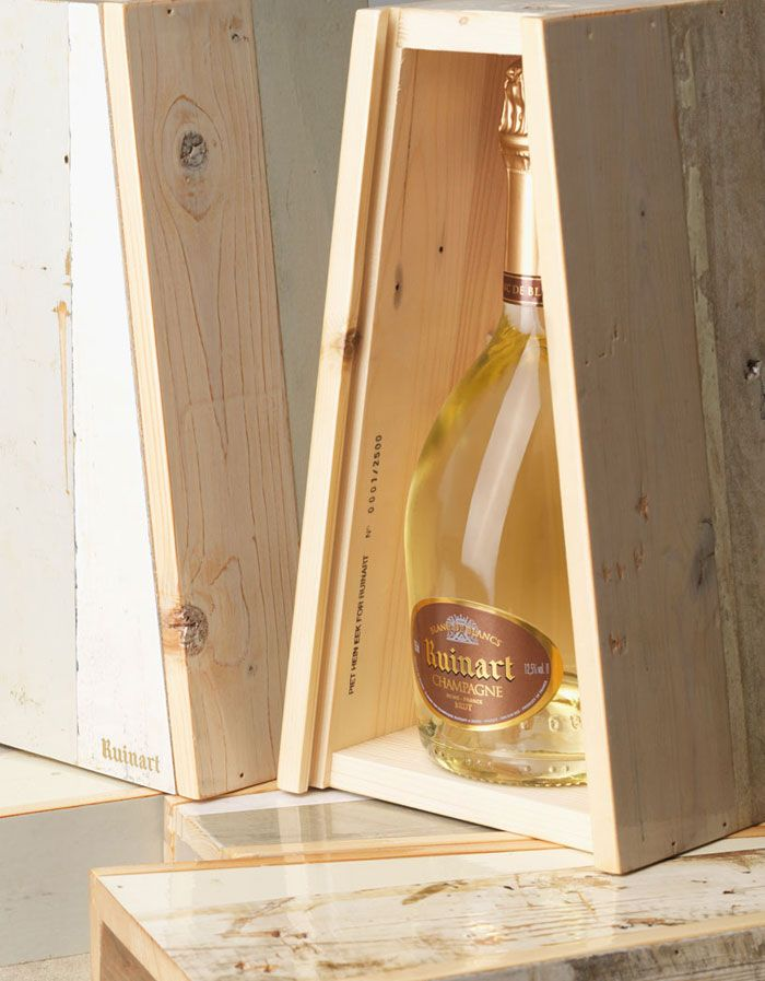 Ruinart Champagne Reclaimed Wood  Packaging by Dutch Designer Piet Hein Eek has partnered with Ruinart Champagne, handcrafted packaging for the French brand using his trademark material.