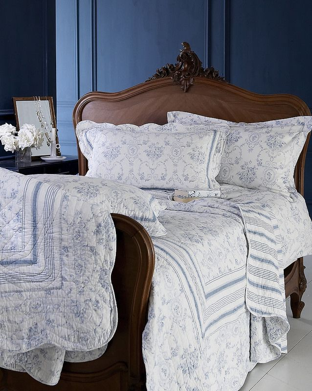 irresistible quilt bed covers, in blue and white toille http://biggiebest.co.il/product-category/bed_linen/