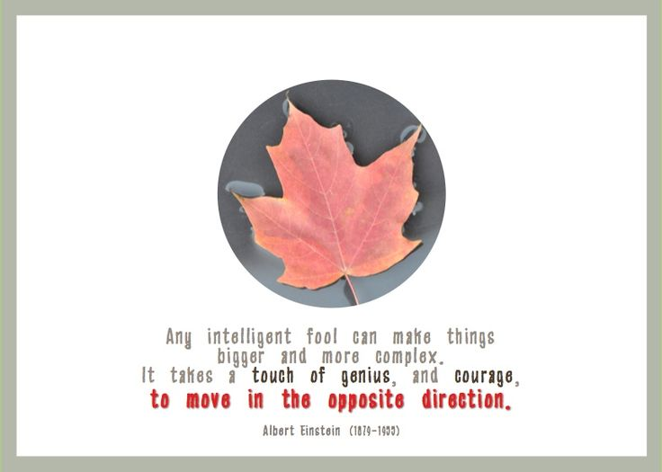Any intelligent fool can make things bigger and more complex.  It takes a touch of genius, and courage, to move in the opposite direction.  - Albert Einstein (1879-1955) http://esacompany.com/image/TGCards/TGCPin2012.jpg