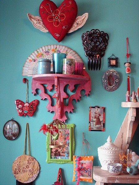 The rose color of the wall shelf is EXACTLY the color I just painted a wall sconce for my bohemian collection. Who knew?