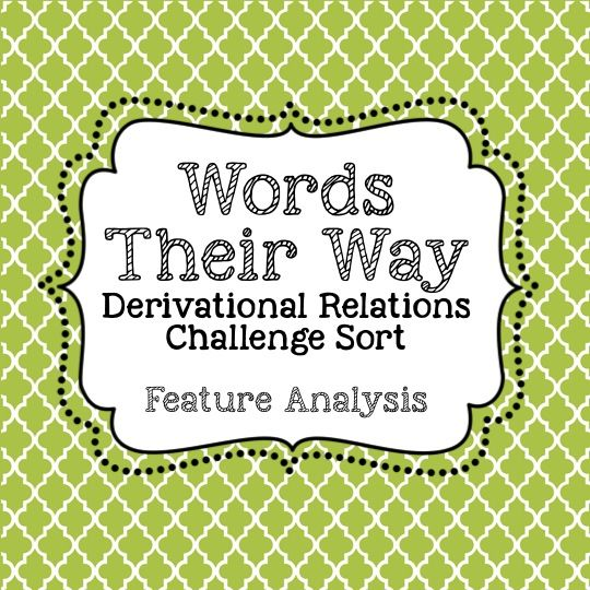 Derivational Relations Stage - Words their way
