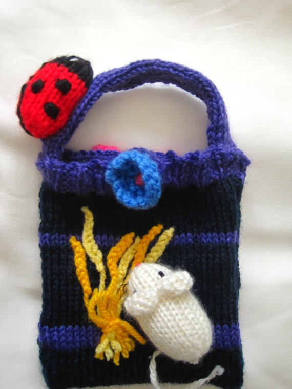 A girls hand knitted mouse ladybird and by BagsofCuriosity on Etsy, £12.99