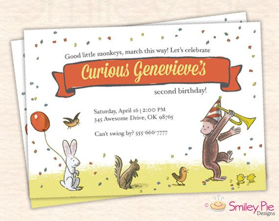 Curious George Invitation  Vintage by SmileyPieDesigns on Etsy