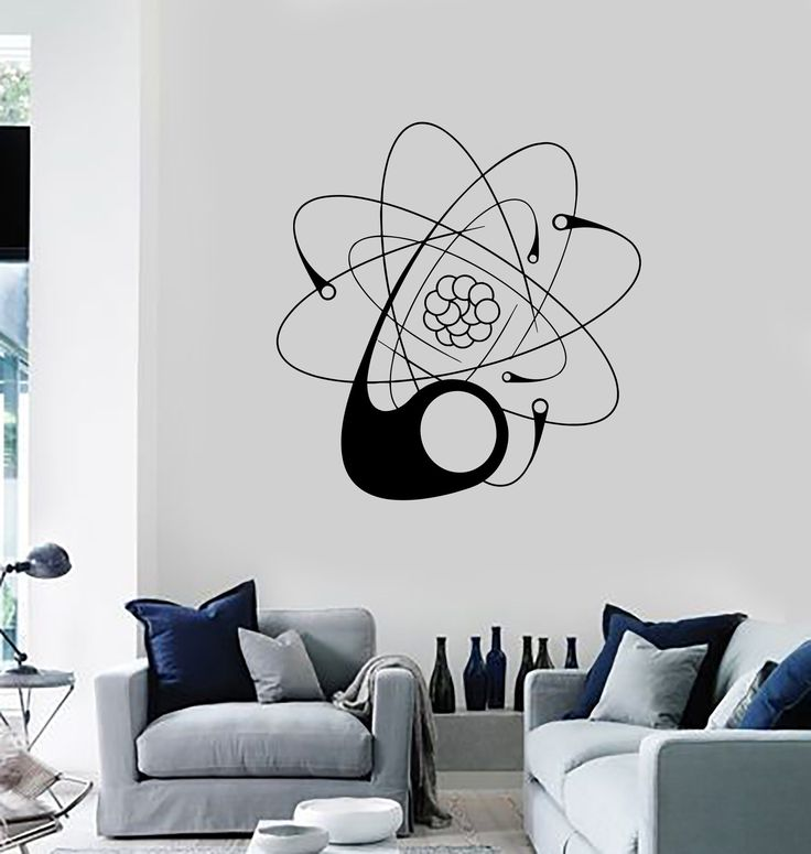 Wall Decal Atom Science University School Education Vinyl Stickers Unique Gift (ig2800)
