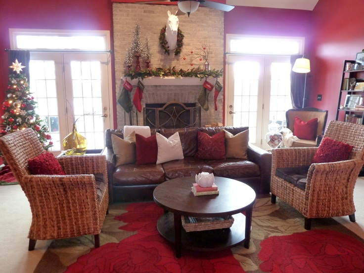 A Cozy Christmas Living Room Is Accented With Pier 1