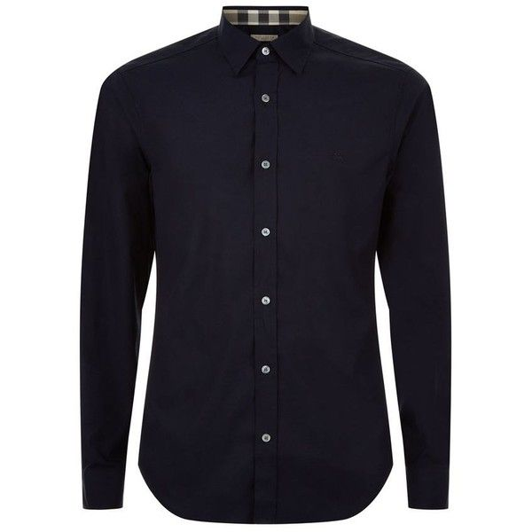 Burberry Brit Stretch Cotton Poplin Shirt (£165) ❤ liked on Polyvore featuring men's fashion, men's clothing, men's shirts, men's casual shirts, men's and men wear