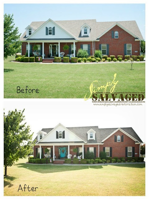 Turquoise door and black shutters and white trim curb - Front door colors for red brick house ...