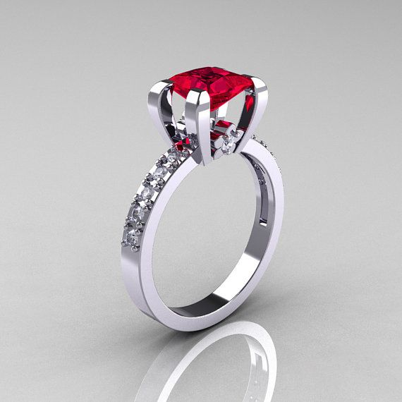 Classic 18K White Gold 1.0 Carat Princess Black and by artmasters, $1449.00