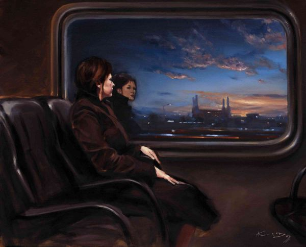 Train Dreaming by Kevin Day. Original signed oil on canvas. Size 24x30 inches in black rustic with cream slip 5inch. Overall size approx 34x40inches. Buy now for  £3,000 at: http://www.artpal.com/collectableart/