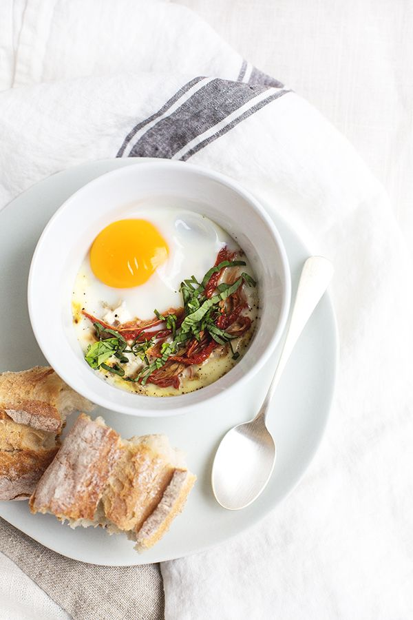 Eggs en Cocotte Recipe with Caramelized Onions and Sun-Dried Tomatoes | Sugar and Charm