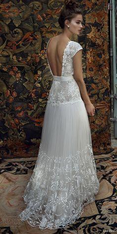 Lihi artesa de novia 2016 casquillo aria cordón del vestido de boda de la manga embellecido de la correa falda blusa vista posterior