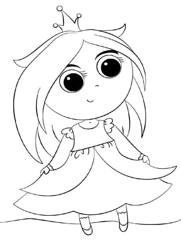 Cartoon Princess Free Coloring Pages.