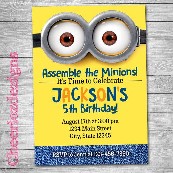 25 best ideas about Minion birthday invitations – Custom Party Invitation