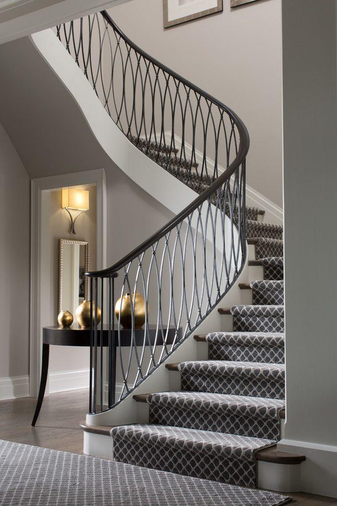 Superior Stunning White Stairway With Carpet Runner, Iron Railing, Wood Flooring |  Bayview Builders Part 15