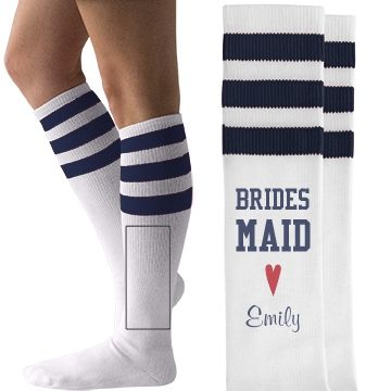 Customize cute and trendy, American Apparel knee high socks for your bridesmaids and all the girls in your wedding party.