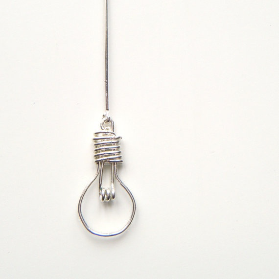Light Bulb Necklace - Handcrafted Wire Work Pendant, Unusual Jewelry, OOAK - 'Light Bulb'
