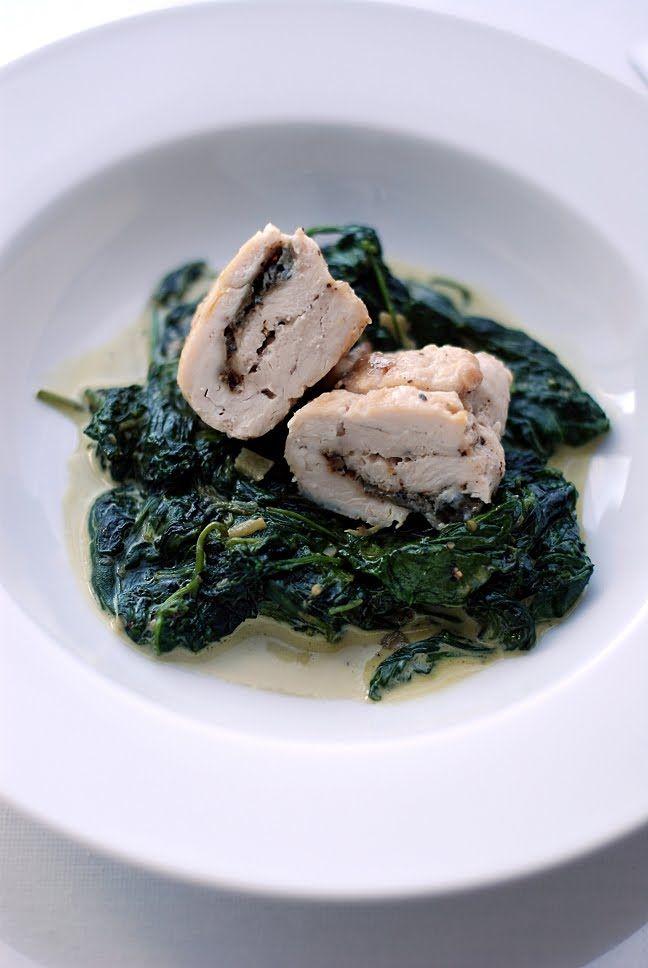 Trufla: Kurczak z gorgonzolą. I szpinak w śmietance.