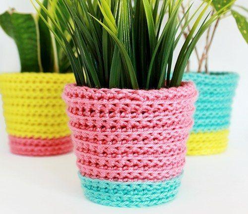crochet a Sherbet Planter Cover
