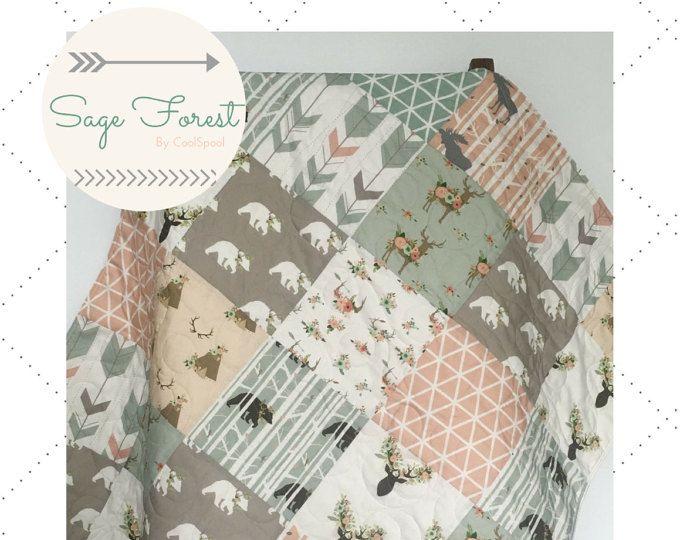 Edredón de Sage niña, bosque cuna ropa de cama, bebé, ropa de cama chica, ciervos de ropa de cama cuna, bebé manta Woodland, cuna cama, sabio bosque