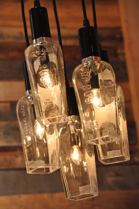 Recycled Gin Bottle 209 Distillery Chandelier Pendant