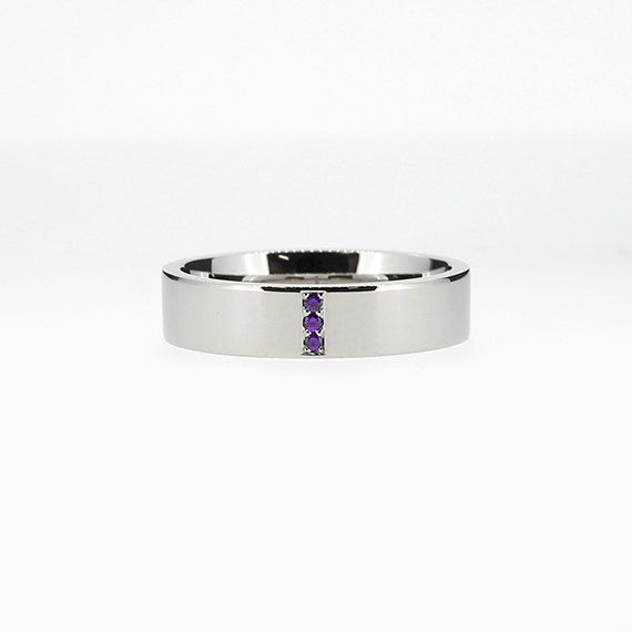 Narrow Line Ring with Amethyst in Palladium