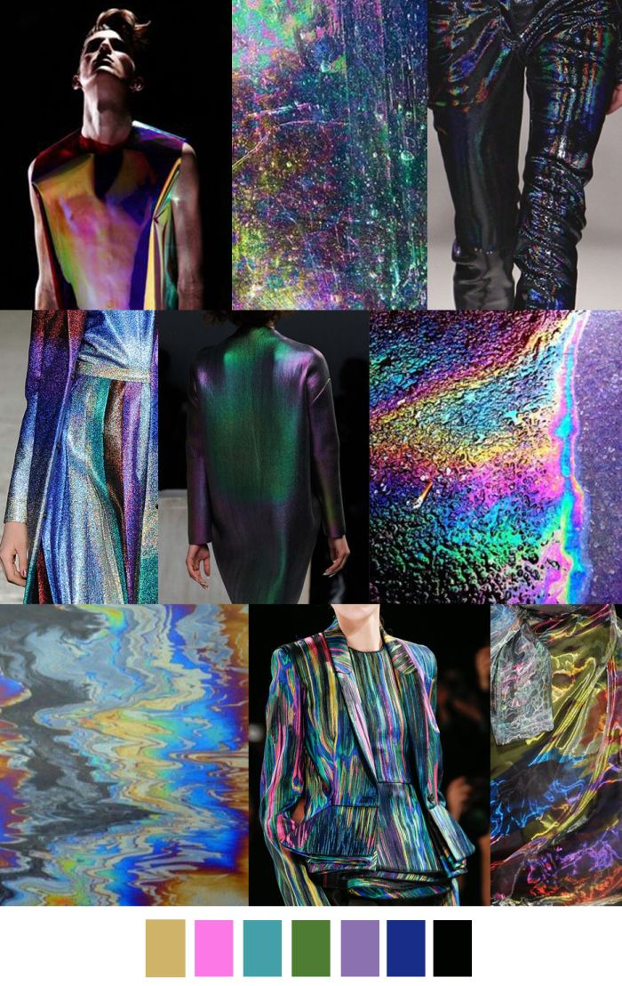 "This trend forcast can be translated into a color and fabric story. ""City Slick"" uses melted colors to create the illusion of an oil spill. The result is metallic and iridescent, which gives an edgy, urban quality to this unisex trend.  -Demi J."