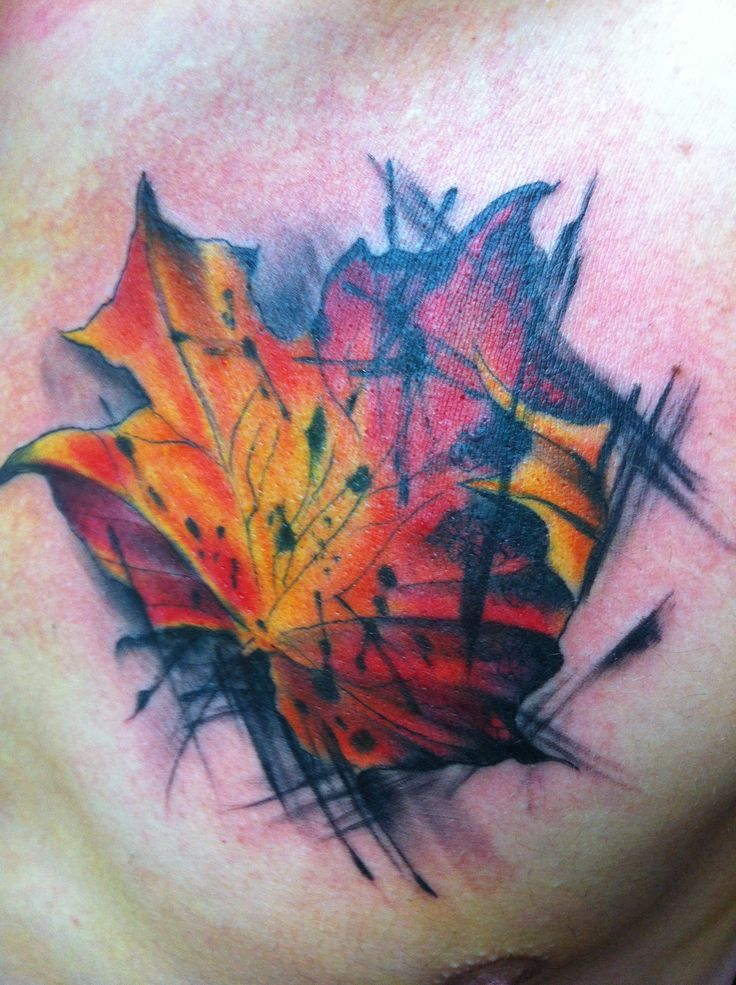 Water colour style maple leaf tattoo