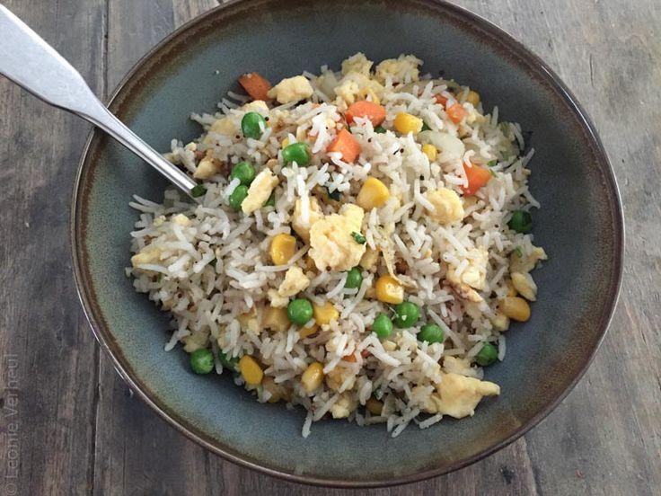 Rijst met lentegroenten en ei