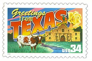 The Texas State Postage Stamp  Depicted above is the Texas state 34 cent stamp from the Greetings From America commemorative stamp series. The United States Postal Service released this stamp on April 4, 2002. The retro design of this stamp resembles the large letter postcards that were popular with tourists in the 1930's and 1940's.