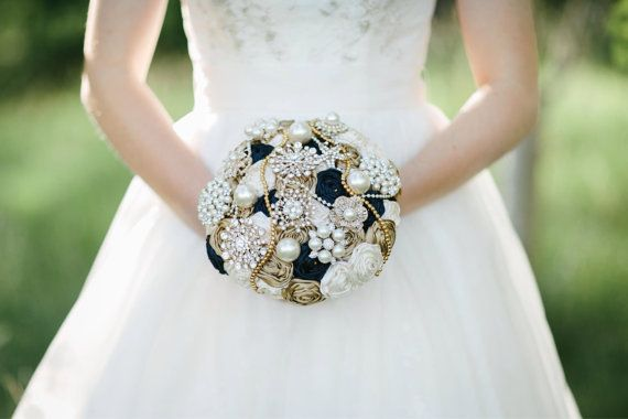 Brooch bouquet. Navy and gold satin ribbon by Bellesbroochbouquets