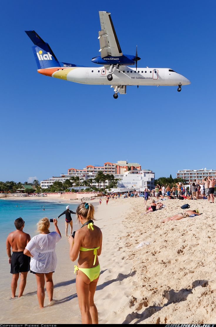 Another plane landing in Sint Maarten/ flying over Maho Beach.  This is memorable as it is LIAT Airlines, which was often our connecting flight when going somewhere AA didn't fly.  Our little joke about them is that LIAT stands for Leave In About Ten minutes, since this would be the answer anytime you asked about the flight departure etc...